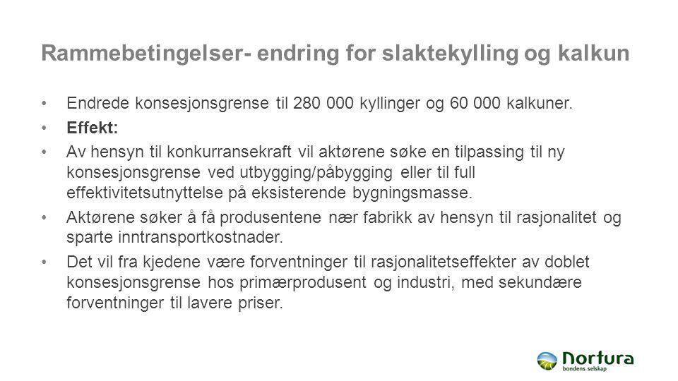 Rammebetingelser- endring for slaktekylling og kalkun Endrede konsesjonsgrense til 280 000 kyllinger og 60 000 kalkuner. Effekt: Av hensyn til konkurr