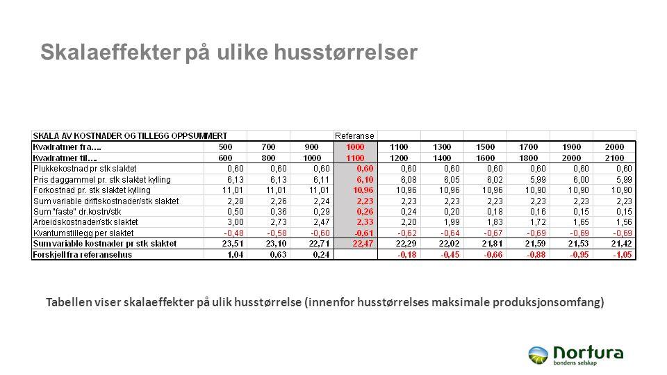 Skalaeffekter på ulike husstørrelser Tabellen viser skalaeffekter på ulik husstørrelse (innenfor husstørrelses maksimale produksjonsomfang)
