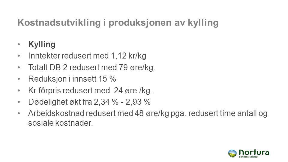 Kostnadsutvikling i produksjonen av kylling Kylling Inntekter redusert med 1,12 kr/kg Totalt DB 2 redusert med 79 øre/kg. Reduksjon i innsett 15 % Kr.