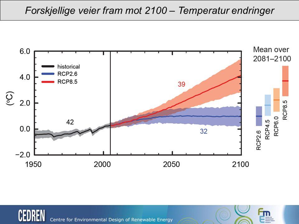 Forskjellige veier fram mot 2100 – Temperatur endringer