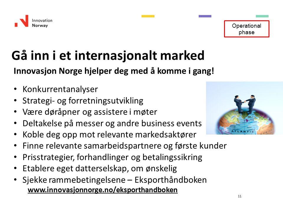 Gå inn i et internasjonalt marked 11 Innovasjon Norge hjelper deg med å komme i gang.