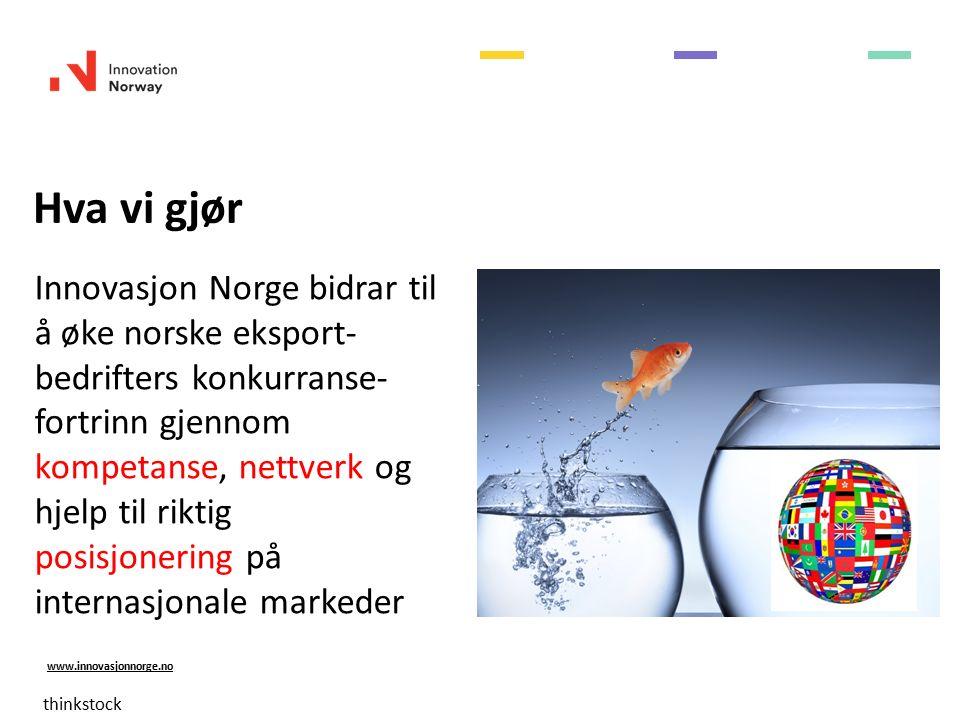 www.innovasjonnorge.no Tilstede i 35 kontorer i 28 land Americas (6 kontor) Europa (16 kontor) Asia (10 kontor) Afrika (3 kontor)