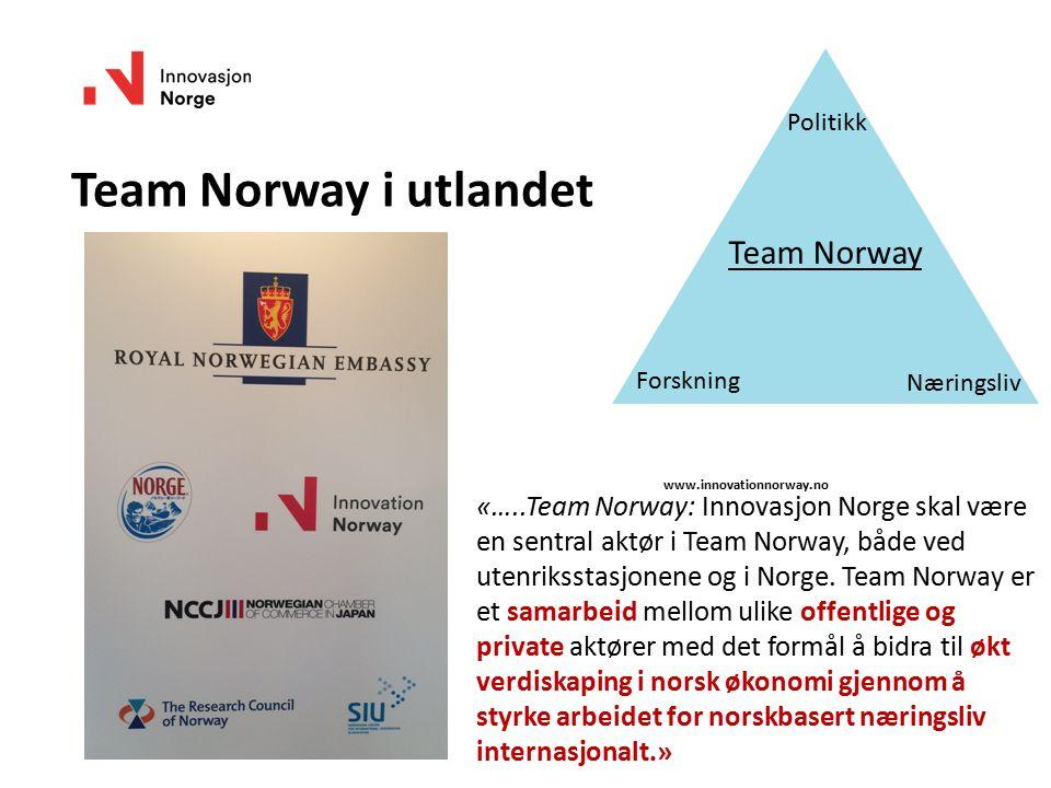 «…..Team Norway: Innovasjon Norge skal være en sentral aktør i Team Norway, både ved utenriksstasjonene og i Norge.