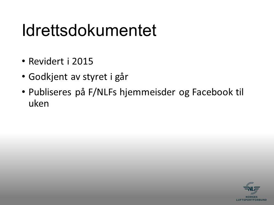 Idrettsdokumentet Revidert i 2015 Godkjent av styret i går Publiseres på F/NLFs hjemmeisder og Facebook til uken