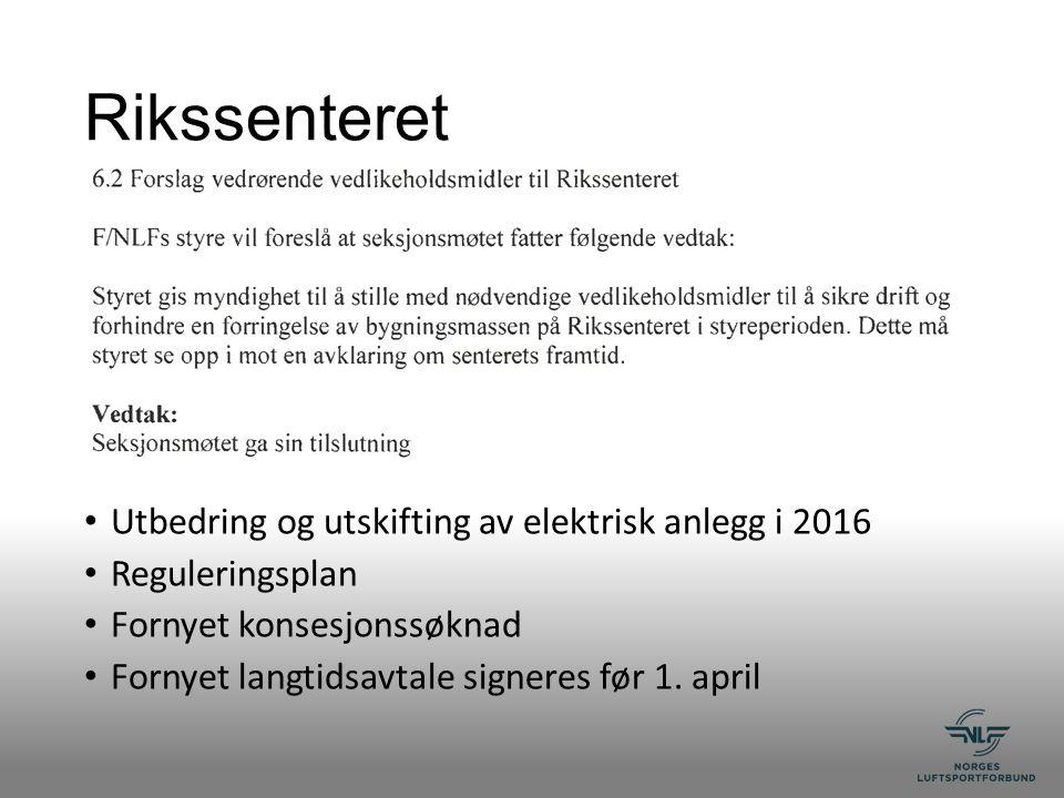 Rikssenteret Utbedring og utskifting av elektrisk anlegg i 2016 Reguleringsplan Fornyet konsesjonssøknad Fornyet langtidsavtale signeres før 1.
