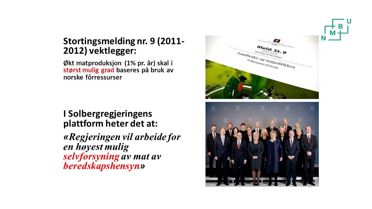 Stortingsmelding nr. 9 (2011- 2012) vektlegger: Økt matproduksjon (1% pr.