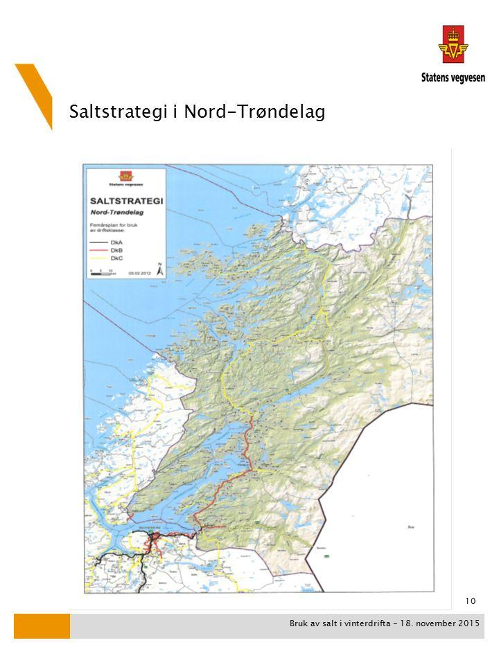 Saltstrategi i Nord-Trøndelag Bruk av salt i vinterdrifta - 18. november 2015 10