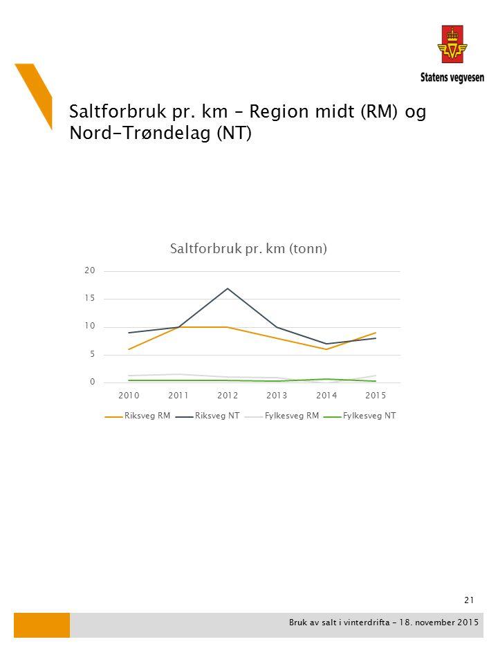 Saltforbruk pr. km – Region midt (RM) og Nord-Trøndelag (NT) Bruk av salt i vinterdrifta - 18.