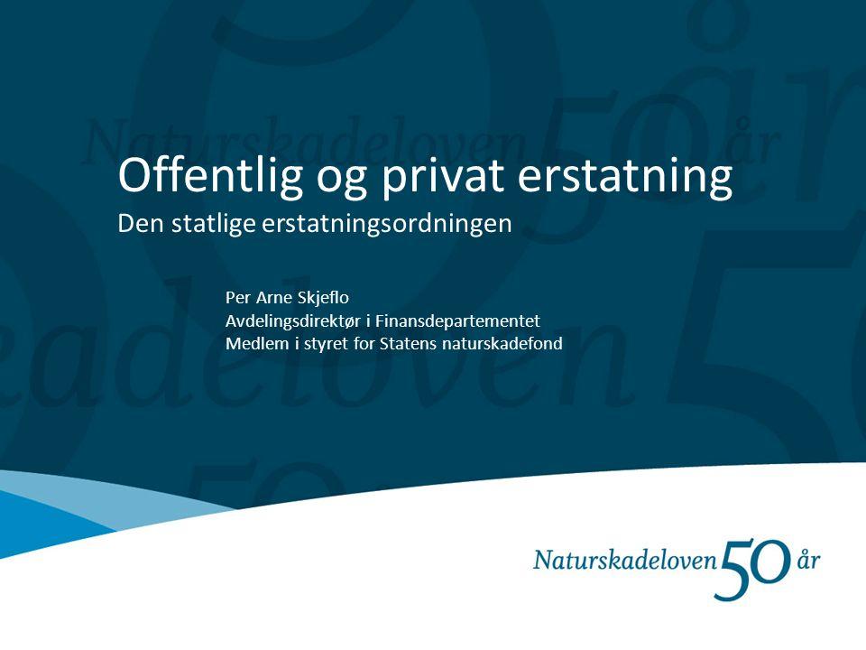 Offentlig og privat erstatning Den statlige erstatningsordningen Per Arne Skjeflo Avdelingsdirektør i Finansdepartementet Medlem i styret for Statens