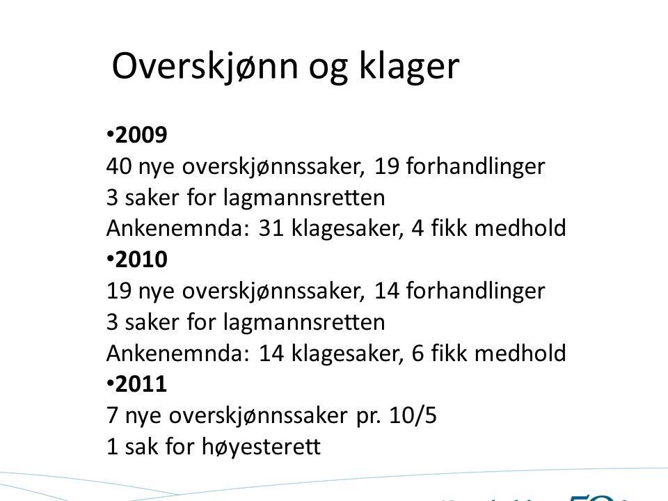 Overskjønn og klager 2009 40 nye overskjønnssaker, 19 forhandlinger 3 saker for lagmannsretten Ankenemnda: 31 klagesaker, 4 fikk medhold 2010 19 nye o