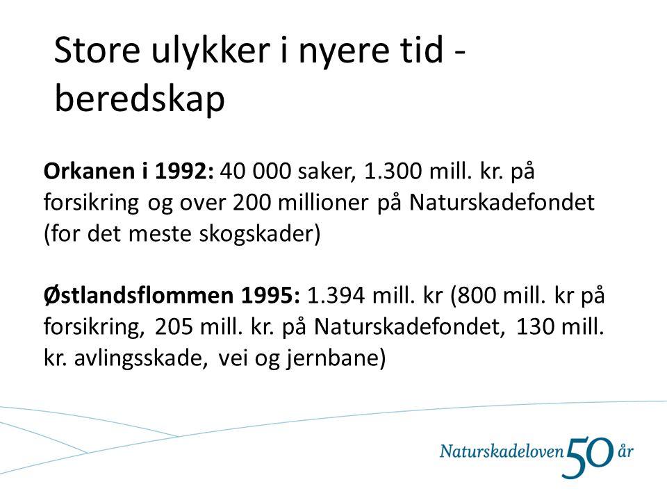 Store ulykker i nyere tid - beredskap Orkanen i 1992: 40 000 saker, 1.300 mill. kr. på forsikring og over 200 millioner på Naturskadefondet (for det m