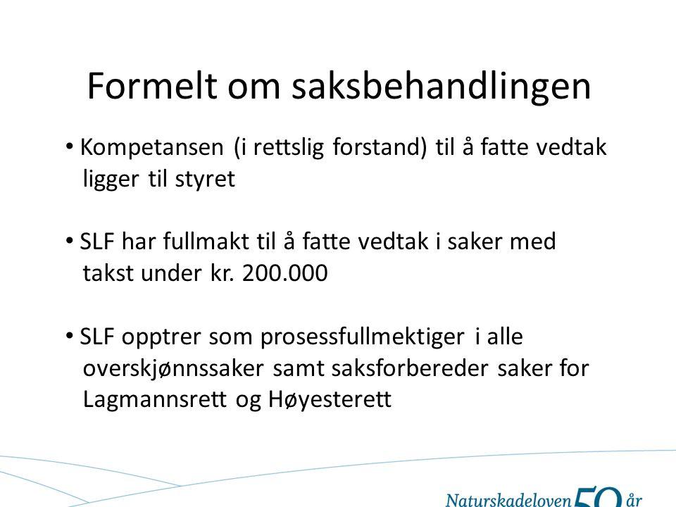 Formelt om saksbehandlingen Kompetansen (i rettslig forstand) til å fatte vedtak ligger til styret SLF har fullmakt til å fatte vedtak i saker med takst under kr.