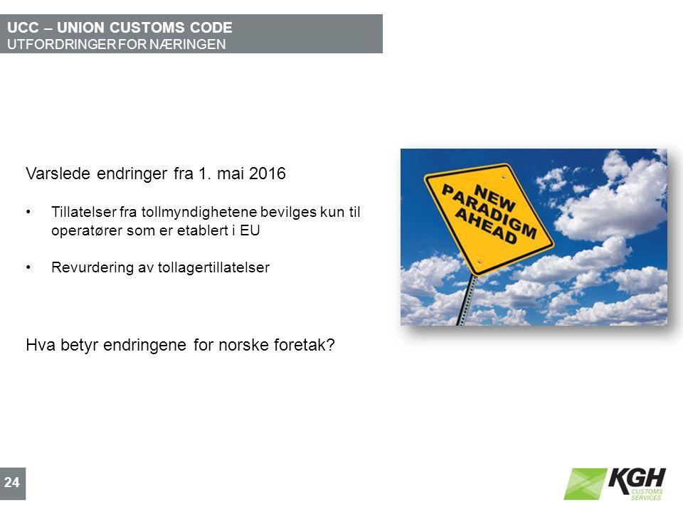 UCC – UNION CUSTOMS CODE UTFORDRINGER FOR NÆRINGEN 24 Varslede endringer fra 1.