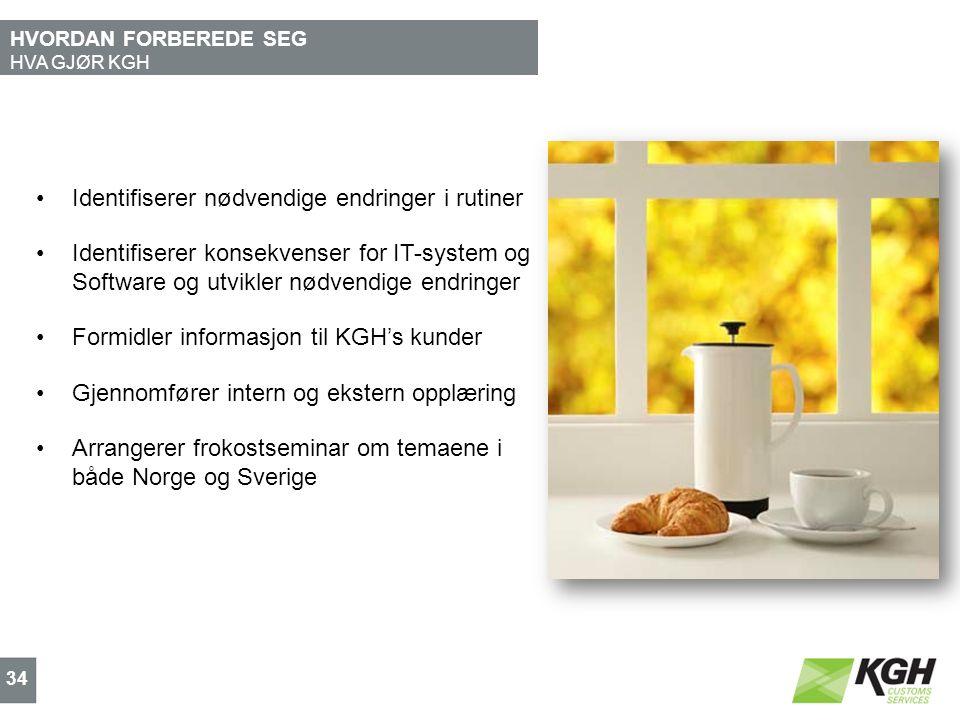 HVORDAN FORBEREDE SEG HVA GJØR KGH 34 Identifiserer nødvendige endringer i rutiner Identifiserer konsekvenser for IT-system og Software og utvikler nødvendige endringer Formidler informasjon til KGH's kunder Gjennomfører intern og ekstern opplæring Arrangerer frokostseminar om temaene i både Norge og Sverige