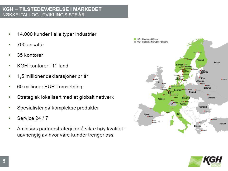 KGH – TILSTEDEVÆRELSE I MARKEDET NØKKELTALL OG UTVIKLING SISTE ÅR 5 14.000 kunder i alle typer industrier 700 ansatte 35 kontorer KGH kontorer i 11 land 1,5 millioner deklarasjoner pr år 60 millioner EUR i omsetning Strategisk lokalisert med et globalt nettverk Spesialister på komplekse produkter Service 24 / 7 Ambisiøs partnerstrategi for å sikre høy kvalitet - uavhengig av hvor våre kunder trenger oss
