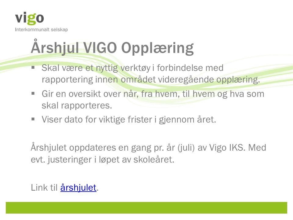 Årshjul VIGO Opplæring  Skal være et nyttig verktøy i forbindelse med rapportering innen området videregående opplæring.