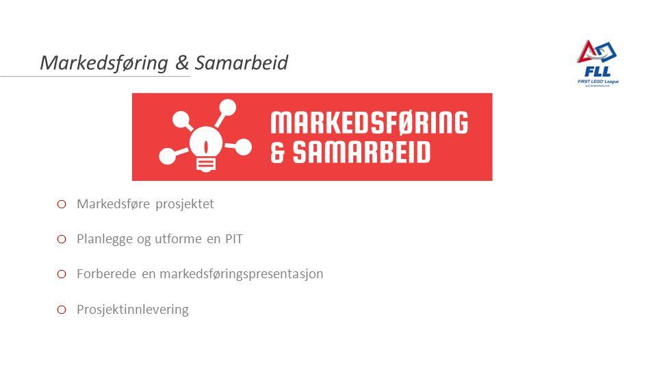 Markedsføring & Samarbeid o Markedsføre prosjektet o Planlegge og utforme en PIT o Forberede en markedsføringspresentasjon o Prosjektinnlevering