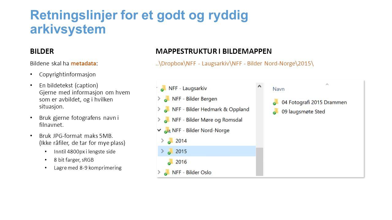 Retningslinjer for et godt og ryddig arkivsystem BILDER Bildene skal ha metadata: Copyrightinformasjon En bildetekst (caption) Gjerne med informasjon