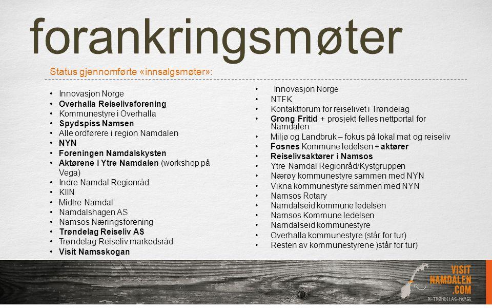 forankringsmøter Innovasjon Norge NTFK Kontaktforum for reiselivet i Trøndelag Grong Fritid + prosjekt felles nettportal for Namdalen Miljø og Landbru