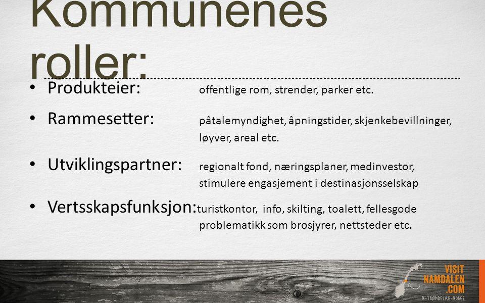 Kommunenes roller: Produkteier: offentlige rom, strender, parker etc. Rammesetter: påtalemyndighet, åpningstider, skjenkebevillninger, løyver, areal e