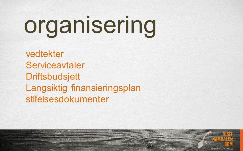 organisering vedtekter Serviceavtaler Driftsbudsjett Langsiktig finansieringsplan stifelsesdokumenter