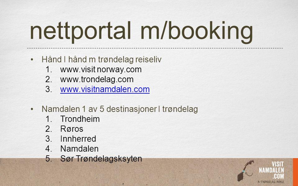 nettportal m/booking Hånd I hånd m trøndelag reiseliv 1.www.visit norway.com 2.www.trondelag.com 3.www.visitnamdalen.comwww.visitnamdalen.com Namdalen