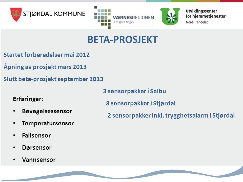 BETA-PROSJEKT Startet forberedelser mai 2012 Åpning av prosjekt mars 2013 Slutt beta-prosjekt september 2013 3 sensorpakker i Selbu 8 sensorpakker i Stjørdal 2 sensorpakker inkl.