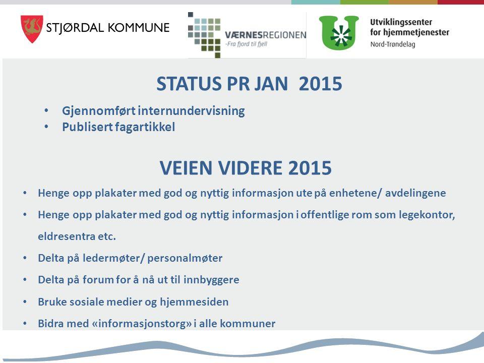 STATUS PR JAN 2015 Gjennomført internundervisning Publisert fagartikkel VEIEN VIDERE 2015 Henge opp plakater med god og nyttig informasjon ute på enhe
