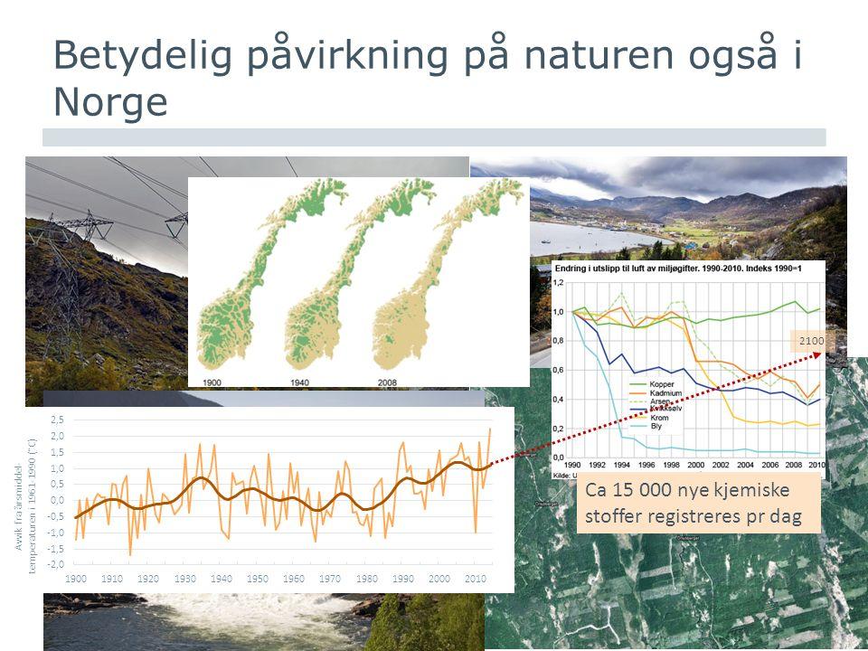 www.nina.no Betydelig påvirkning på naturen også i Norge 2100 Ca 15 000 nye kjemiske stoffer registreres pr dag
