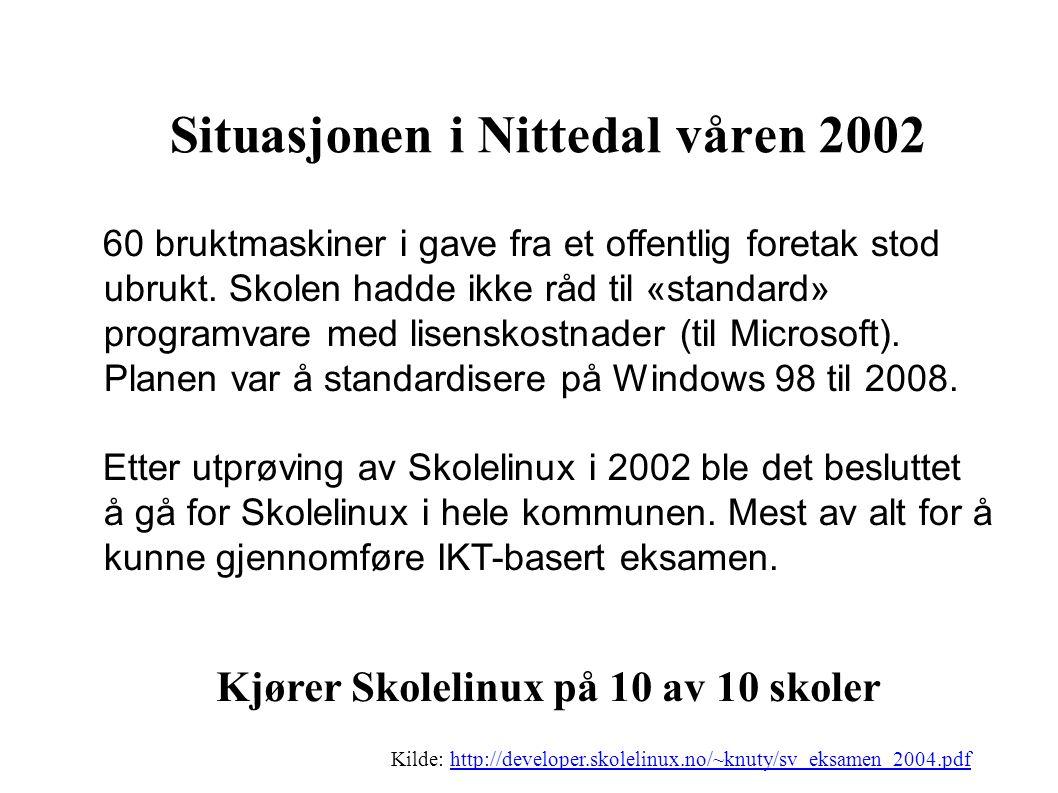 Situasjonen i Nittedal våren 2002 60 bruktmaskiner i gave fra et offentlig foretak stod ubrukt.