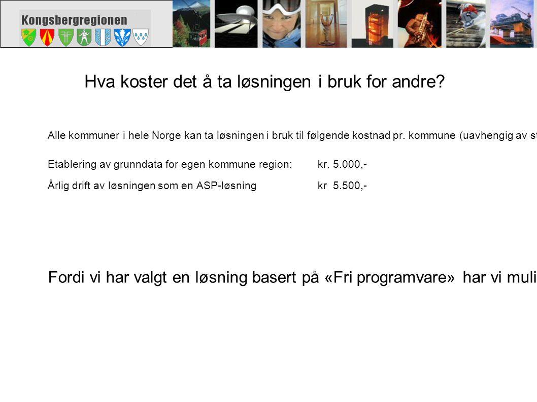 Hva koster det å ta løsningen i bruk for andre? Alle kommuner i hele Norge kan ta løsningen i bruk til følgende kostnad pr. kommune (uavhengig av stør
