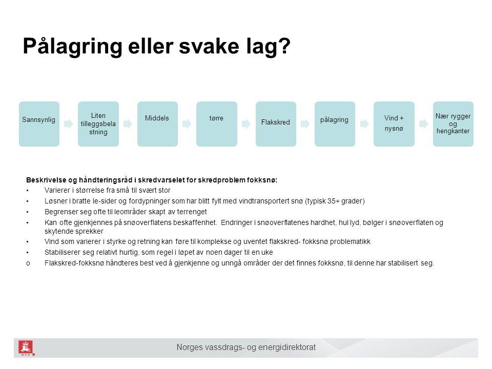 Norges vassdrags- og energidirektorat Pålagring eller svake lag? Sannsynlig Liten tilleggsbela stning Middelstørre Flakskred pålagring Vind + nysnø Næ
