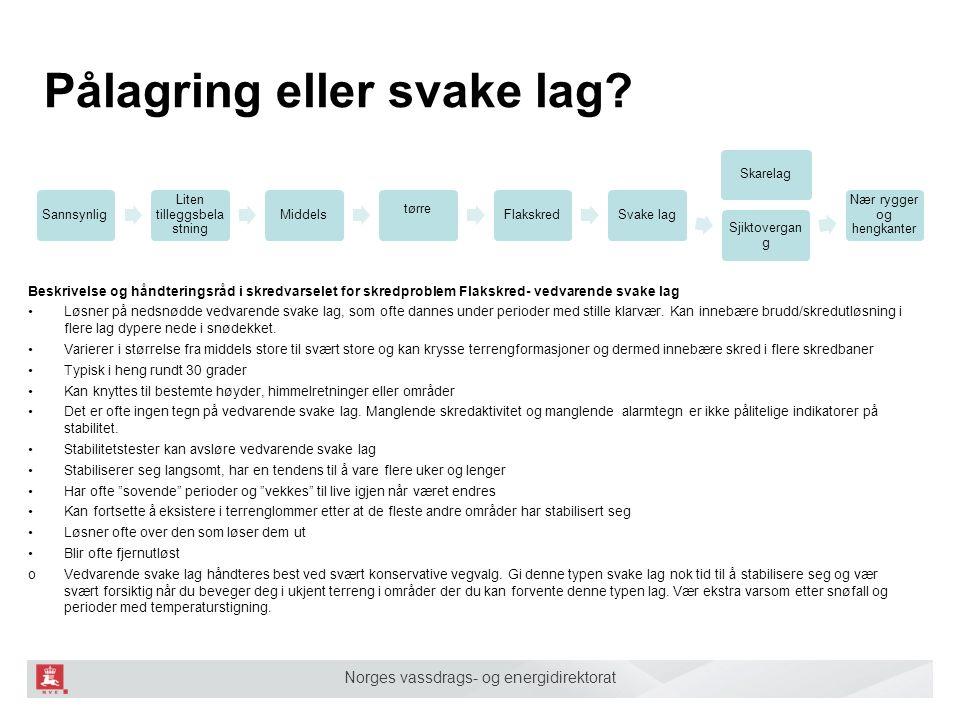 Norges vassdrags- og energidirektorat Pålagring eller svake lag? Sannsynlig Liten tilleggsbela stning Middels tørre FlakskredSvake lag Sjiktovergan g