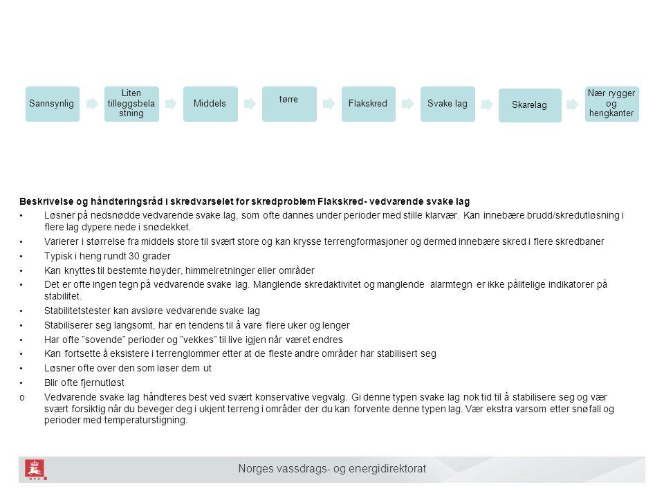 Norges vassdrags- og energidirektorat Sannsynlig Liten tilleggsbela stning Middels tørre FlakskredSvake lag Sjiktovergan g Nær rygger og hengkanter Sk
