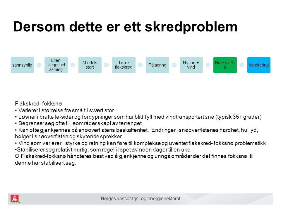 Norges vassdrags- og energidirektorat Dersom dette er ett skredproblem sannsynlig Liten tilleggsbel astning Middels stort Tørre flakskred Pålagring Ny