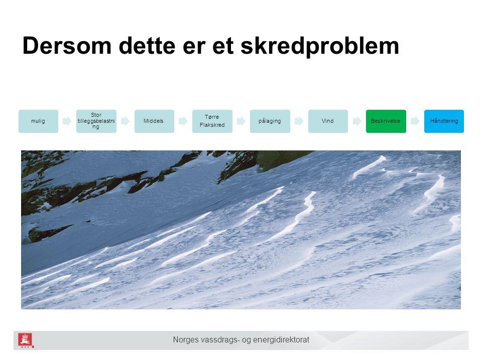 Norges vassdrags- og energidirektorat Dersom dette er et skredproblem mulig Stor tilleggsbelastni ng Middels Tørre Flakskred pålagingVindBeskrivelseHåndtering