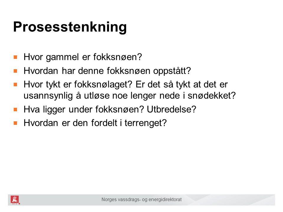 Norges vassdrags- og energidirektorat Prosesstenkning ■ Hvor gammel er fokksnøen? ■ Hvordan har denne fokksnøen oppstått? ■ Hvor tykt er fokksnølaget?