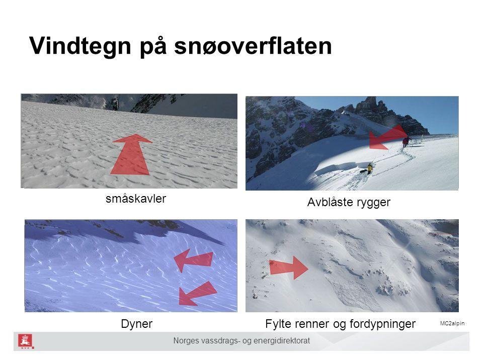 Norges vassdrags- og energidirektorat Vindtegn på snøoverflaten Fylte renner og fordypninger Avblåste rygger Dyner småskavler MC2alpin