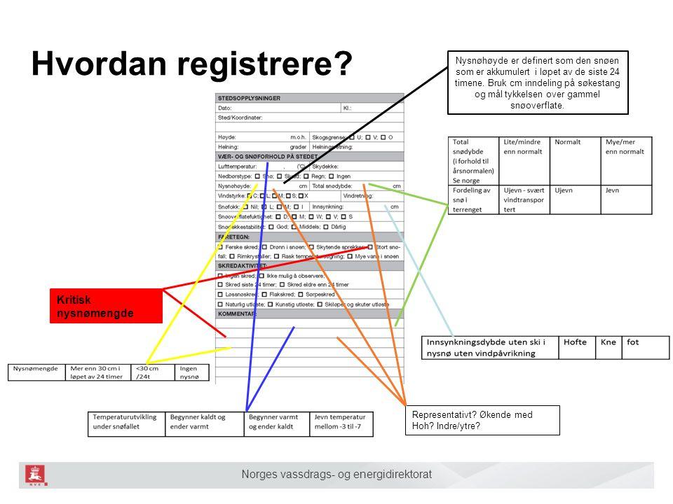 Norges vassdrags- og energidirektorat Hvordan registrere? Kritisk nysnømengde Representativt? Økende med Hoh? Indre/ytre? Nysnøhøyde er definert som d