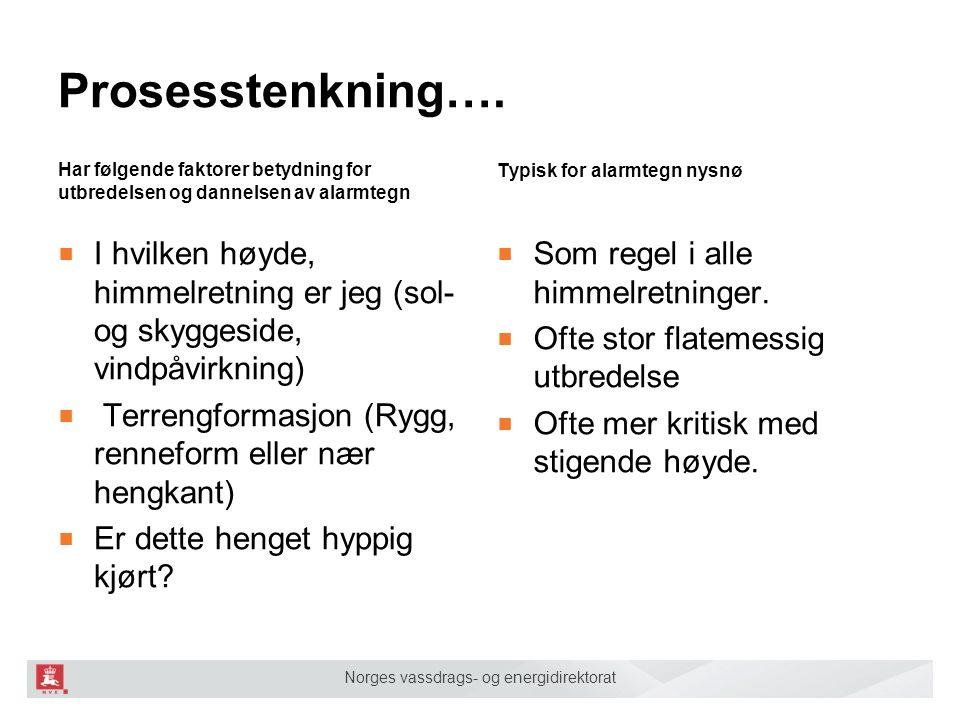 Norges vassdrags- og energidirektorat Prosesstenkning…. Har følgende faktorer betydning for utbredelsen og dannelsen av alarmtegn ■ I hvilken høyde, h