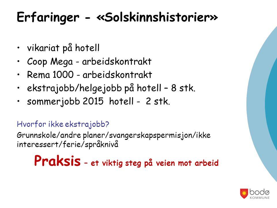 Erfaringer - «Solskinnshistorier» vikariat på hotell Coop Mega - arbeidskontrakt Rema 1000 - arbeidskontrakt ekstrajobb/helgejobb på hotell – 8 stk.