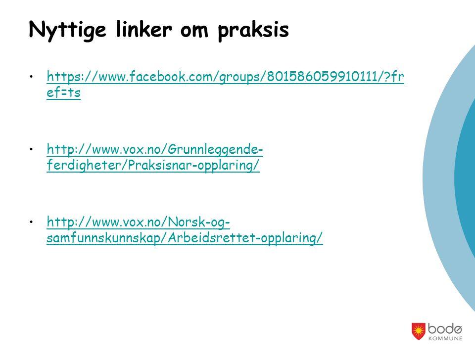 Nyttige linker om praksis https://www.facebook.com/groups/801586059910111/ fr ef=tshttps://www.facebook.com/groups/801586059910111/ fr ef=ts http://www.vox.no/Grunnleggende- ferdigheter/Praksisnar-opplaring/http://www.vox.no/Grunnleggende- ferdigheter/Praksisnar-opplaring/ http://www.vox.no/Norsk-og- samfunnskunnskap/Arbeidsrettet-opplaring/http://www.vox.no/Norsk-og- samfunnskunnskap/Arbeidsrettet-opplaring/
