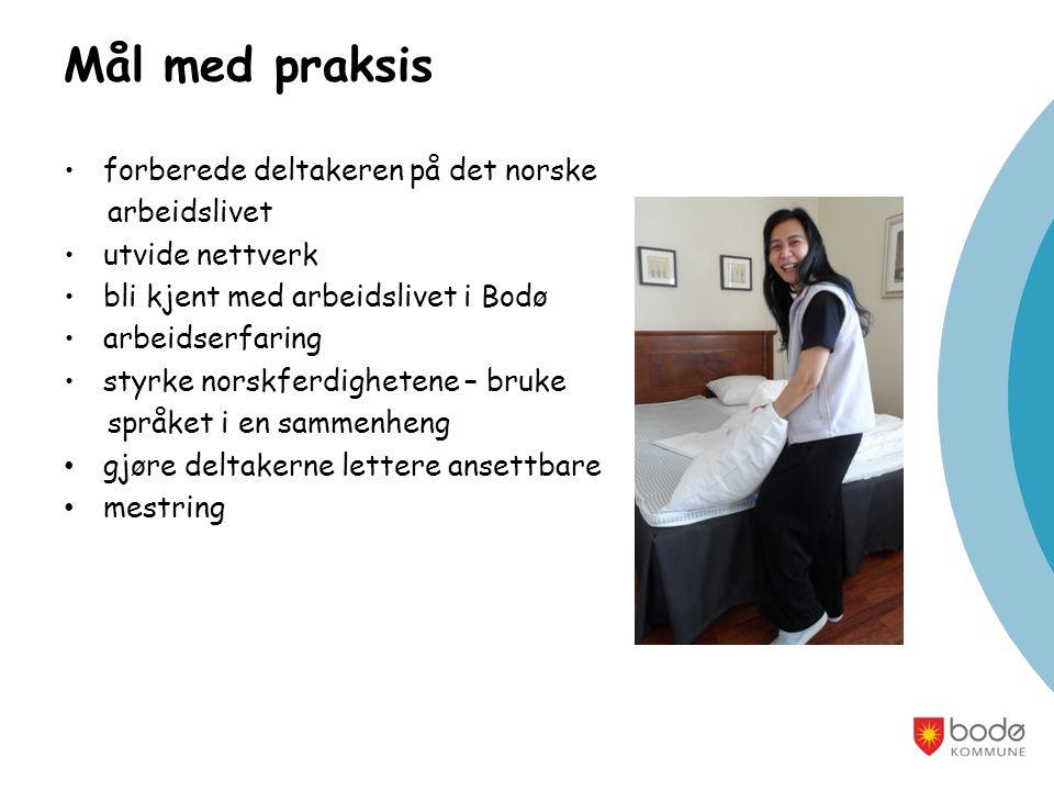 Mål med praksis forberede deltakeren på det norske arbeidslivet utvide nettverk bli kjent med arbeidslivet i Bodø arbeidserfaring styrke norskferdighetene – bruke språket i en sammenheng gjøre deltakerne lettere ansettbare mestring