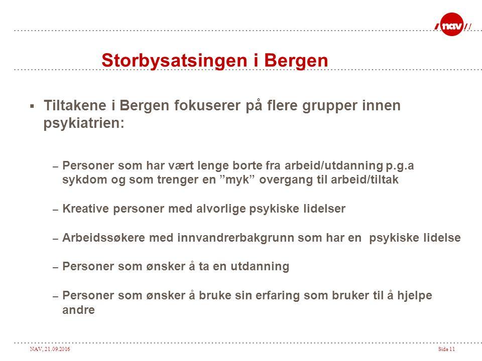 NAV, 21.09.2016Side 11 Storbysatsingen i Bergen  Tiltakene i Bergen fokuserer på flere grupper innen psykiatrien: – Personer som har vært lenge borte