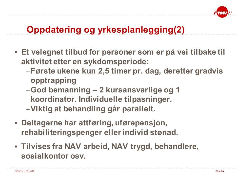 NAV, 21.09.2016Side 14 Oppdatering og yrkesplanlegging(2)  Et velegnet tilbud for personer som er på vei tilbake til aktivitet etter en sykdomsperiod
