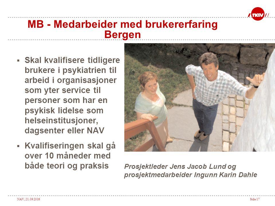 NAV, 21.09.2016Side 17 MB - Medarbeider med brukererfaring Bergen  Skal kvalifisere tidligere brukere i psykiatrien til arbeid i organisasjoner som y