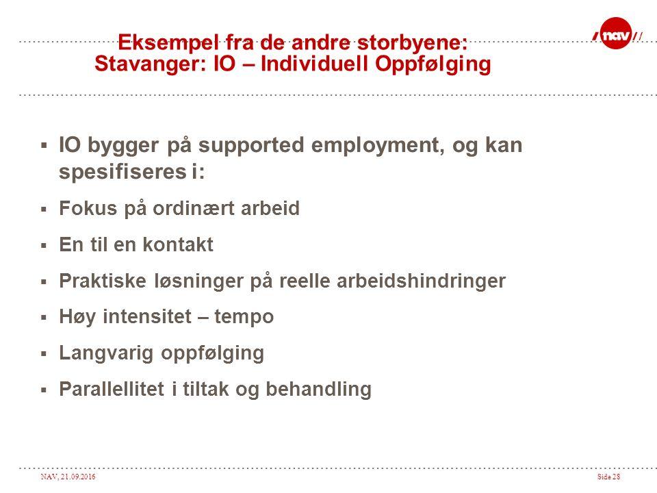 NAV, 21.09.2016Side 28 Eksempel fra de andre storbyene: Stavanger: IO – Individuell Oppfølging  IO bygger på supported employment, og kan spesifisere
