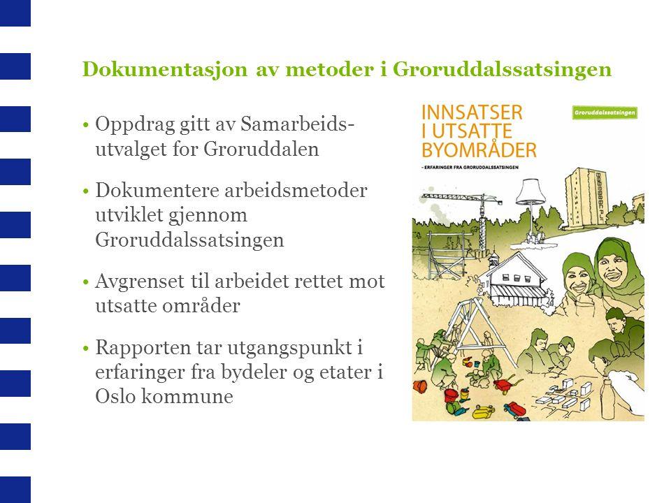 Dokumentasjon av metoder i Groruddalssatsingen Oppdrag gitt av Samarbeids- utvalget for Groruddalen Dokumentere arbeidsmetoder utviklet gjennom Groruddalssatsingen Avgrenset til arbeidet rettet mot utsatte områder Rapporten tar utgangspunkt i erfaringer fra bydeler og etater i Oslo kommune
