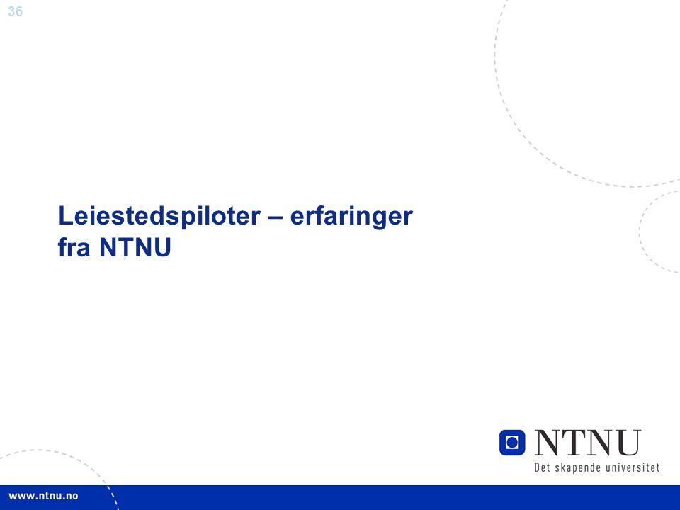 36 Leiestedspiloter – erfaringer fra NTNU