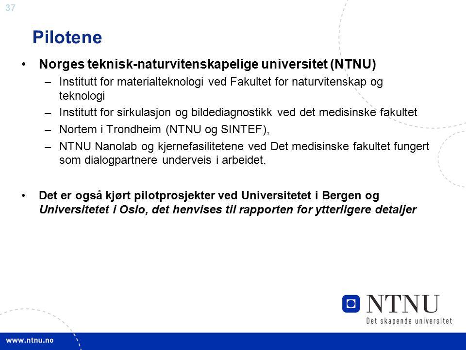 37 Pilotene Norges teknisk-naturvitenskapelige universitet (NTNU) –Institutt for materialteknologi ved Fakultet for naturvitenskap og teknologi –Insti